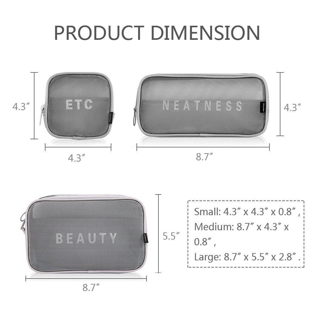 ec3ba1a75b8002 HaloVa Cosmetic Bag Quality Multifunctional Nylon Makeup Bag Waterproof  Large Capacity Wearresistant Fashionable Toiletry Storage Bag 1 Set of 3 Pcs  Grey ...