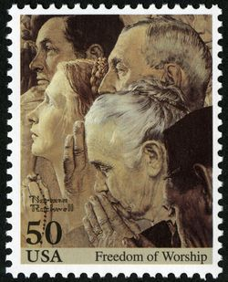 """Freedom of Worship"" by Norman Rockwell US Stamp"