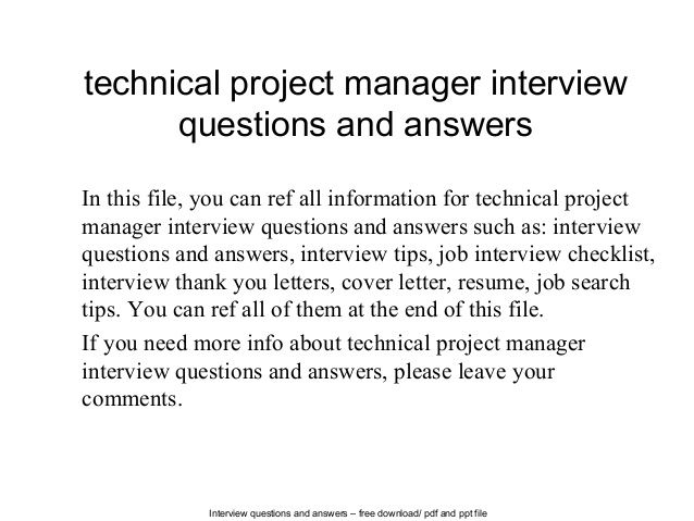 Technical project manager interview questions and answers ...