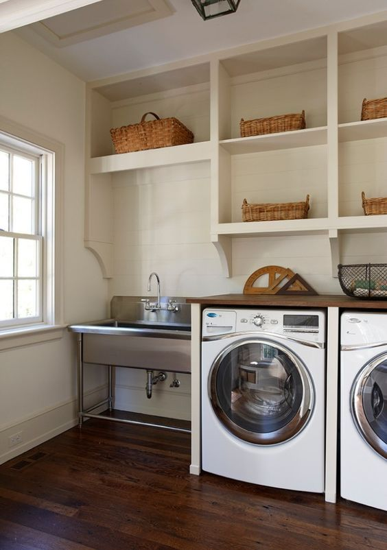 Laundry Room Open Shelving And Stainless Steel Sink In Leu Of