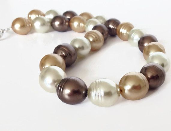 Gold Pearl Necklace Big Pearl Necklace Large Pearl by PolishedPlum