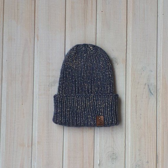 76d5f311e37 Blue knit hat Alpaca hat Mens knit hat Royal blue and gold Hipster beanie  Unique gift Gift for men h