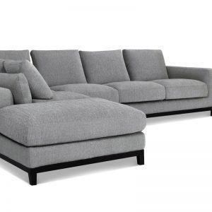 Grey Tweed Sectional Sofa