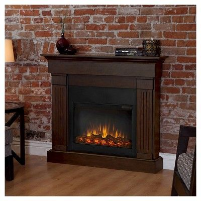 Real Flame Crawford Slim Electric Fireplace Chestnut Oak Brown