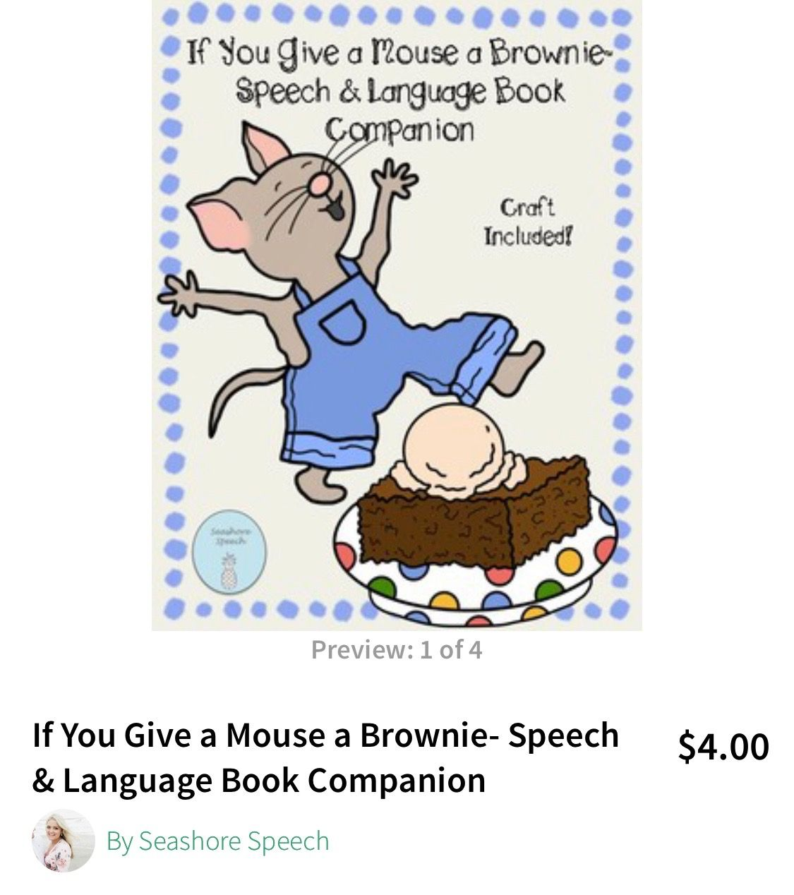 If You Give A Mouse A Brownie Speech Language Book Companion