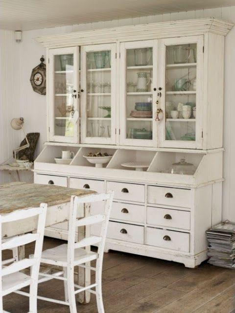 Creamy White Vintage Style Hutch  Retro Stuff  Pinterest New White Kitchen Hutch 2018