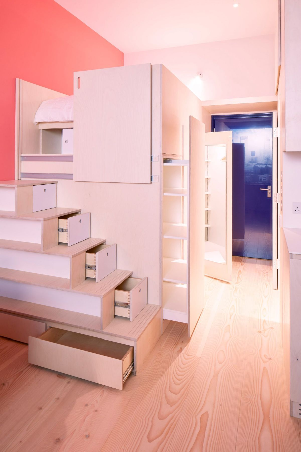square metres organized with plywood units space saving furniture best small house designs also the micro apartments in world reveal their clever interior rh pinterest