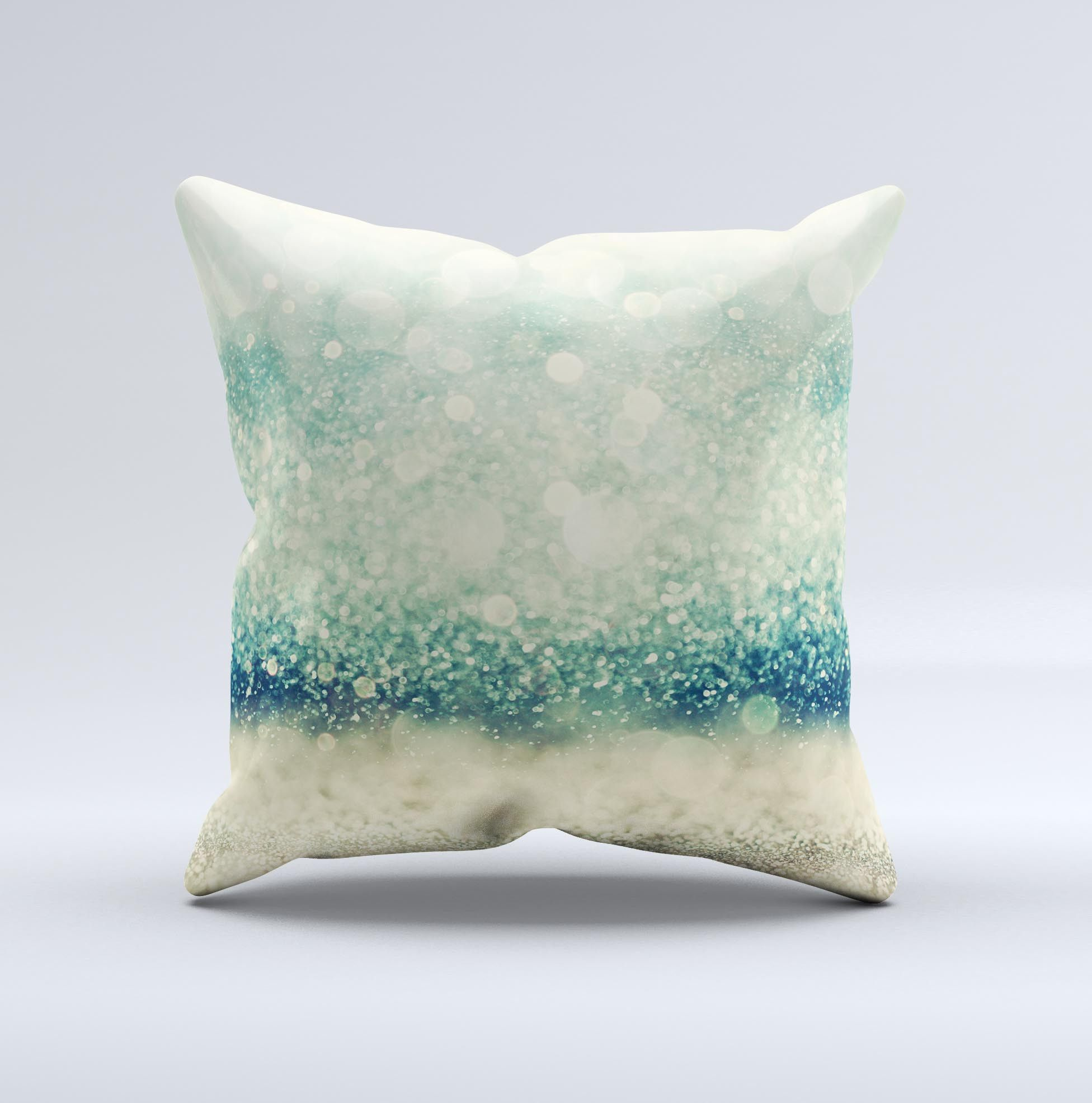 The Teal and Gold Unfocused Orbs of Light ink-Fuzed Decorative Throw Pillow from DesignSkinz