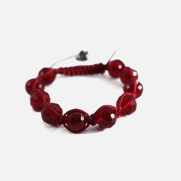 Burgundy Red Crystal Beaded Friendship Macrame Bracelet