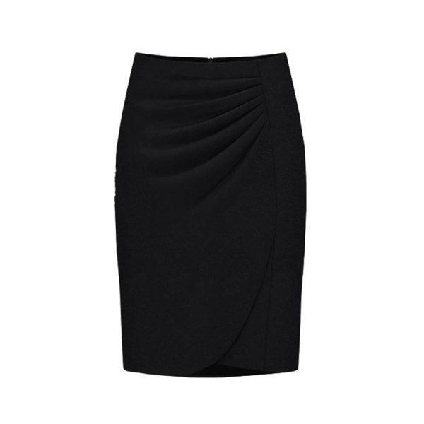 ab1b36a4a4a  20.56 OL Style High-Waisted Ruched Solid Color Women s Midi Skirt - Black