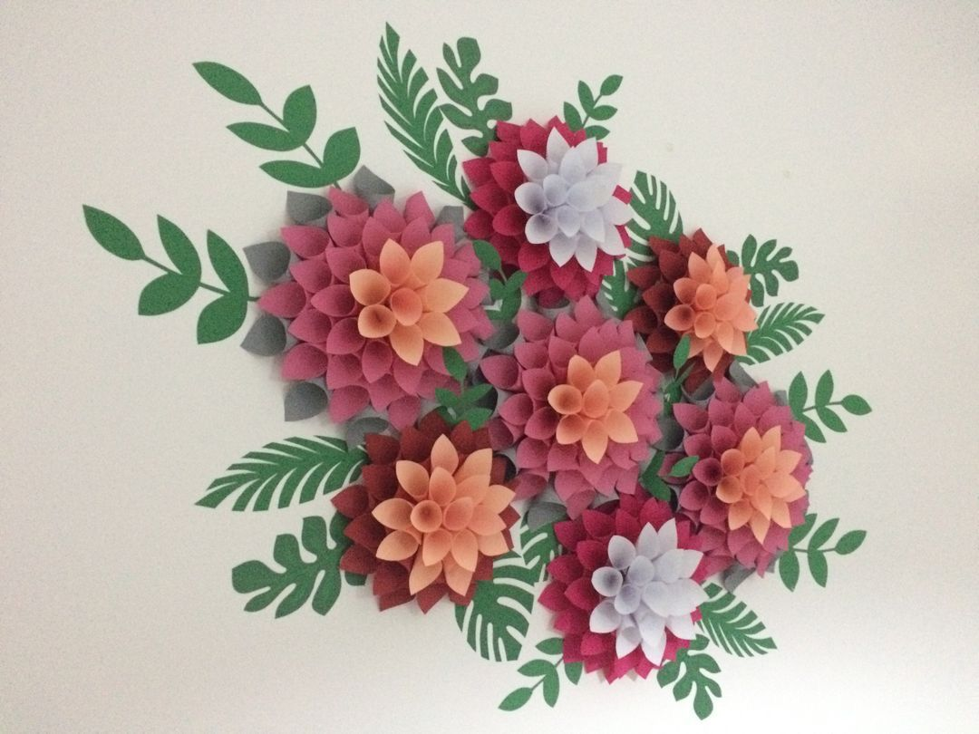 Giant Dahlia Paper Flowers Flower Backdrop Printable