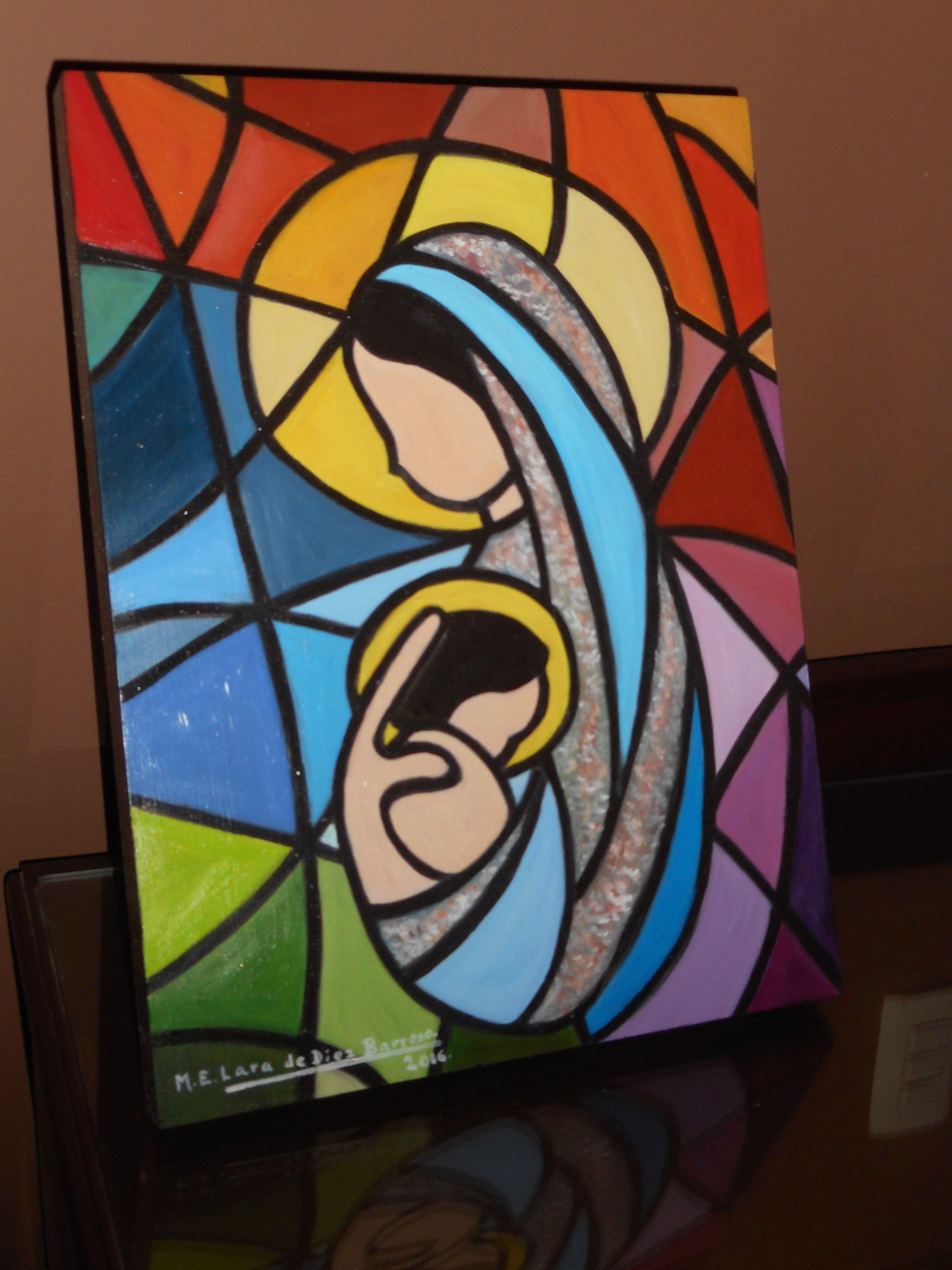 Virgencita con ni o tipo vitral oleo sobre madera 40 x for Cuadros pintados al oleo