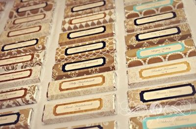 DIY place cards made from candy bars