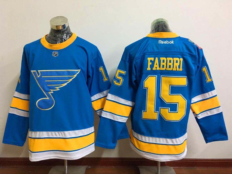NHL Mens St. Louis Blues #15 Fabbri Blue 2017 Classic Hockey Jerseys