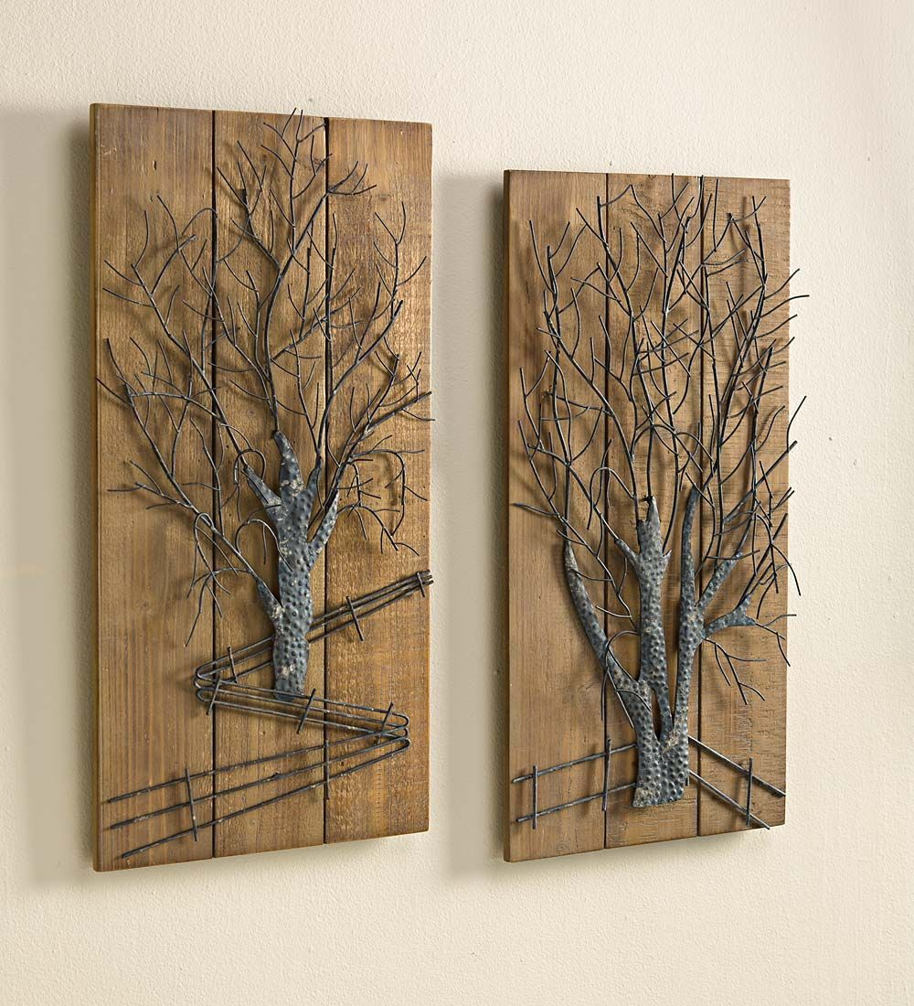 Metal tree on wooden wall art set of 2 rustic set of for Tree wall art