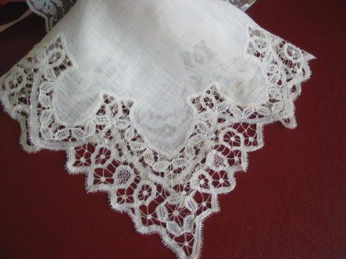 Antique Handmade Battenburg Lace Bridal Wedding Handkerchief Keepsake