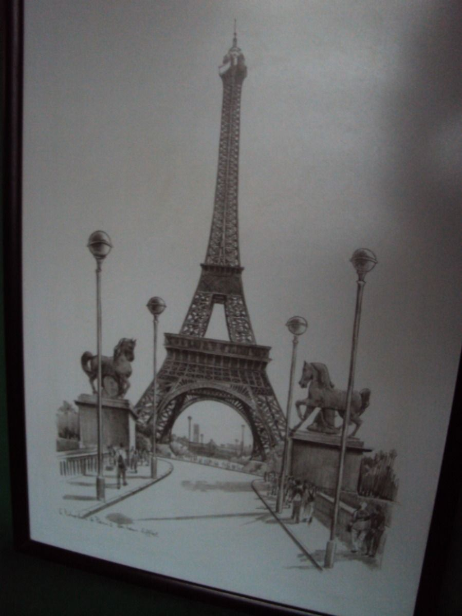 pencil drawing of the eiffel tower dessin au crayon de la. Black Bedroom Furniture Sets. Home Design Ideas