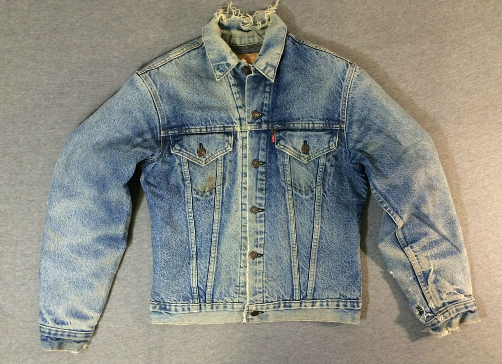 LEVI'S Denim Jacket 70's Blanket Lined Distressed Sherpa Jean Men ...