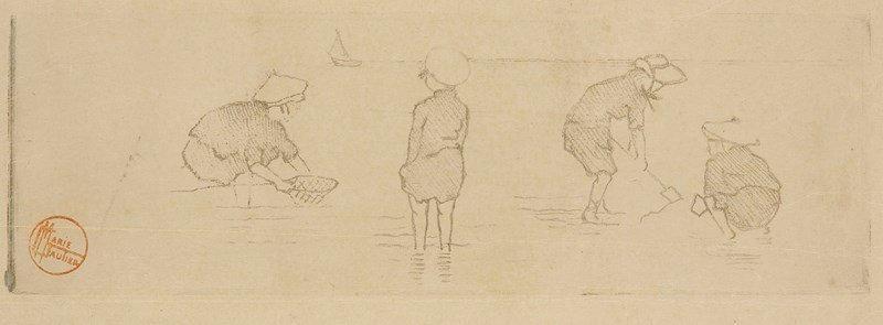 Marie Gautier Quatre Enfants Au Bord De L Eau Vers 1895 1900 Vernis Mou Pierre Roche Vintage World Maps Printmaking