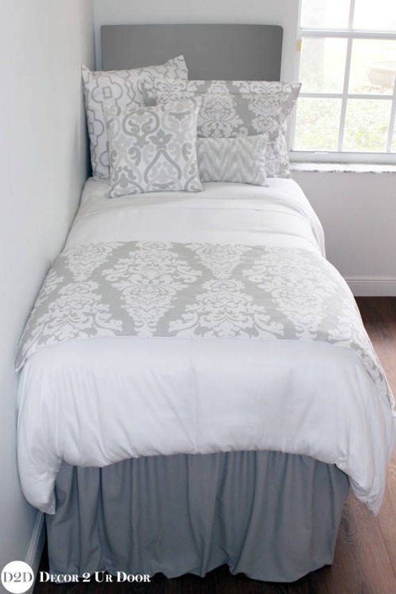 Solid Grey Extended Length 34 Drop Dorm Bed Skirt Extra Long Txl
