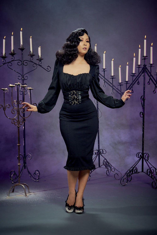 7975902cd Aziza Dress in Black Ponte by Elvira Mistress of the Dark