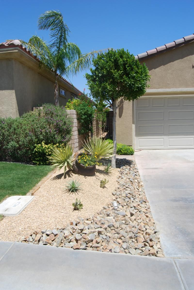 the left side of the driveway got a similar treatment to the main yard     a sculptured gravel
