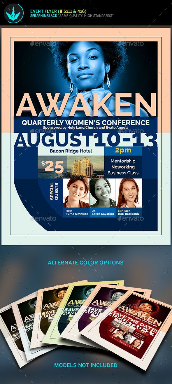 Awaken Womenu0027s Conference Flyer Template Flyer template - conference flyer template