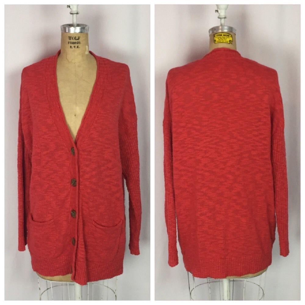 J. Jill Red Boyfriend Style Cotton Chenille Cardigan Sweater ...