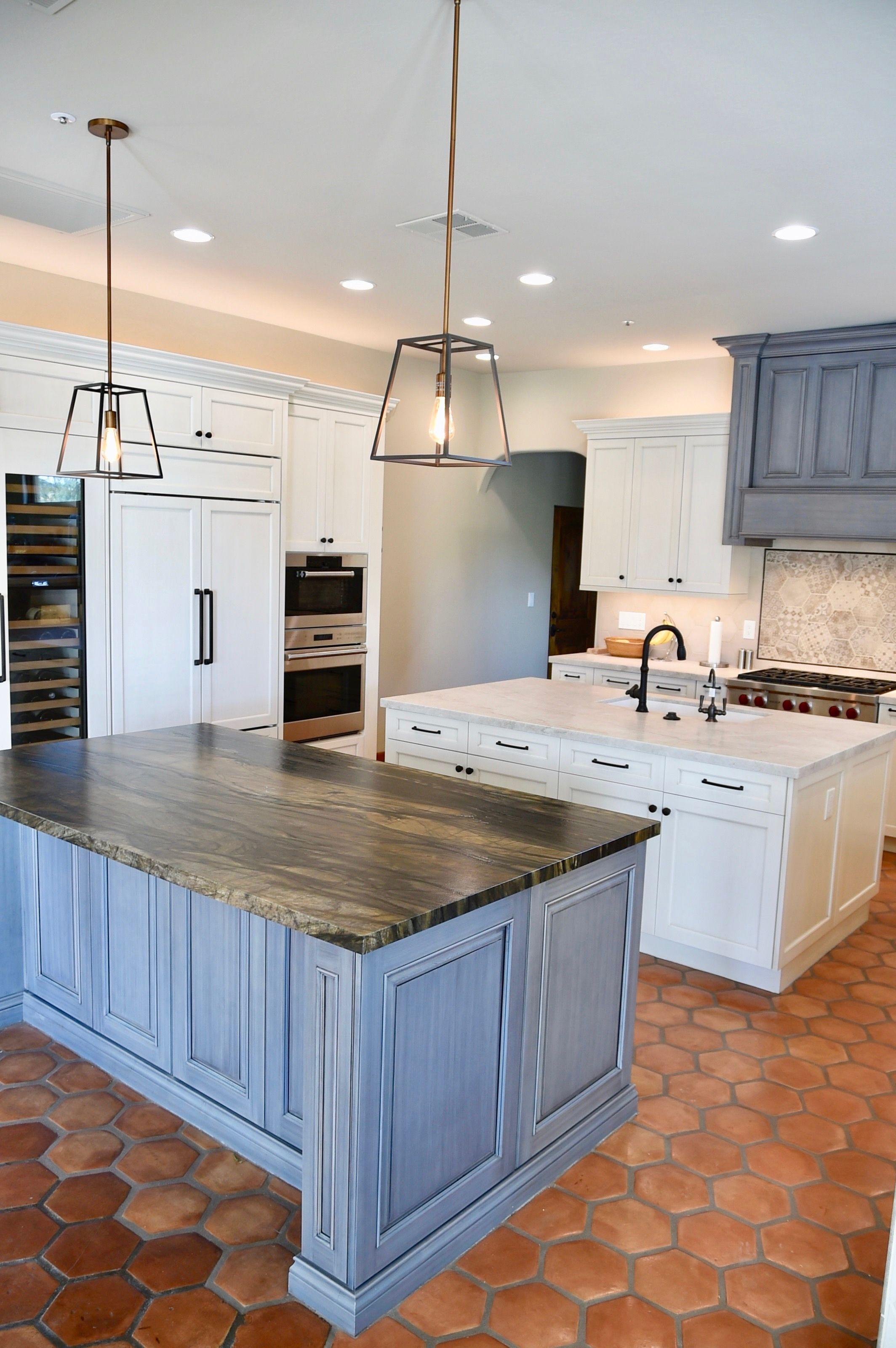 Kitchen remodel white and grey cabinets modern lights taj mahal