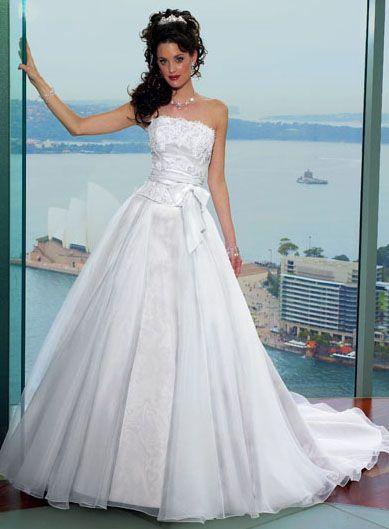 A-line Strapless Chapel Train Satin Wedding Dresses | Wedding ...