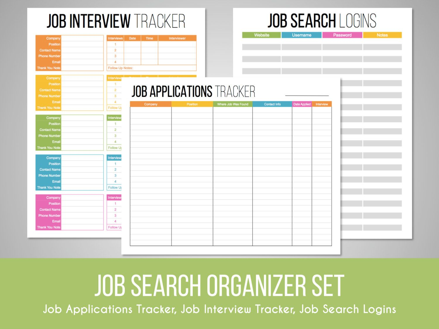 Job Search Organizer Set  Job Search Tracker Interview Tracker