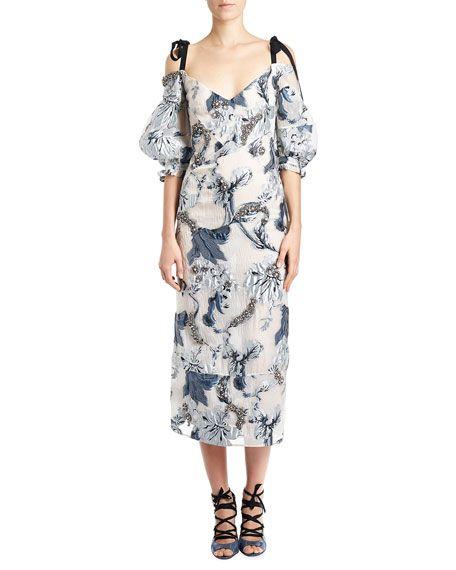 Bree Embroidered Tie-Shoulder Dress