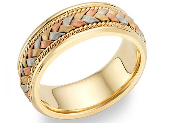 14k tricolor gold braided wedding band Colored wedding