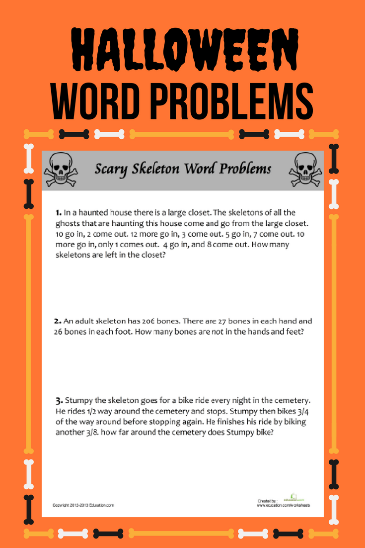 Scary Skeleton Word Problems Worksheet Education Com Word Problems Halloween Word Problems Word Problem Worksheets [ 1102 x 735 Pixel ]