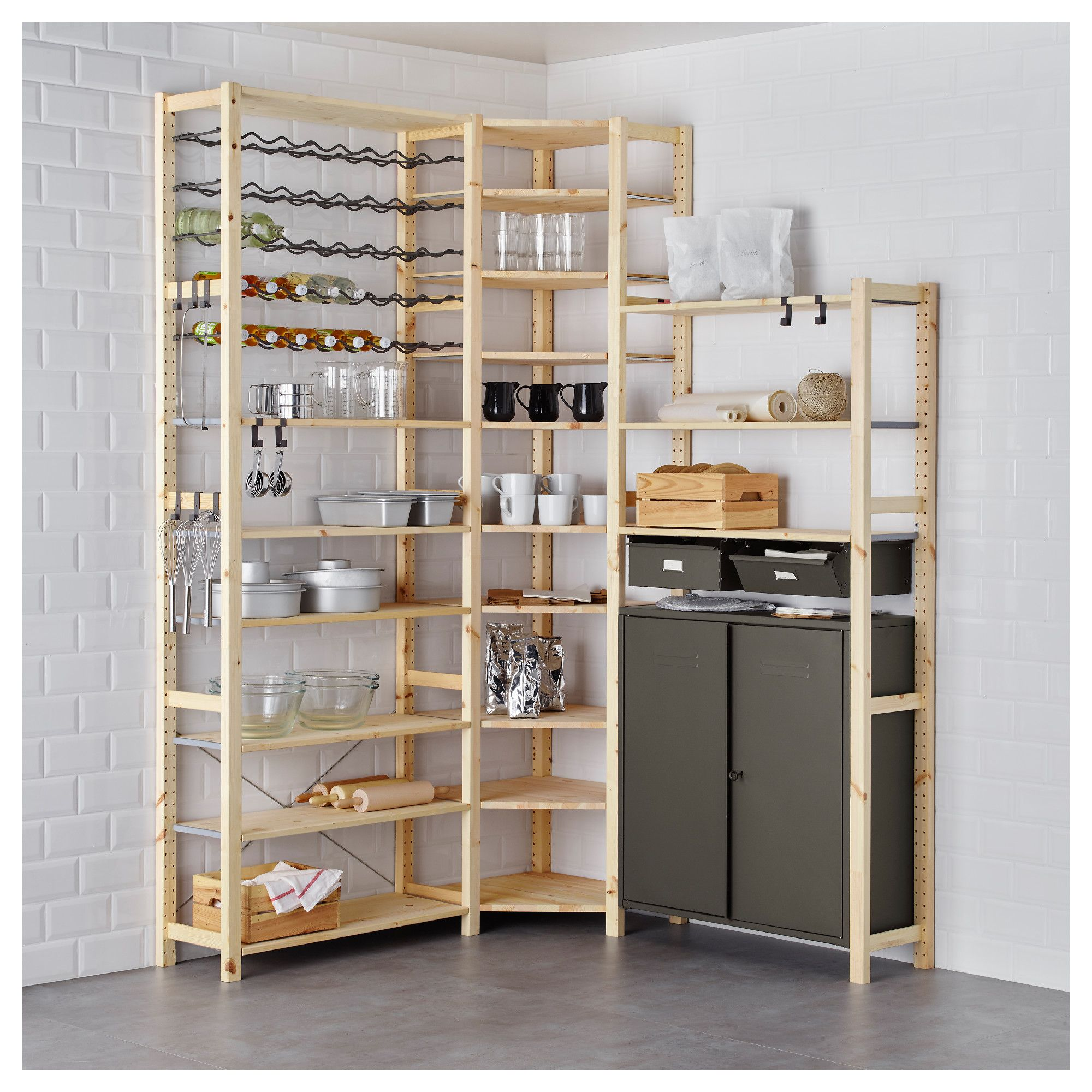 Ikea Cabinets Pantry: IVAR 3 Section Shelving Unit W/cabinets, Pine, Gray