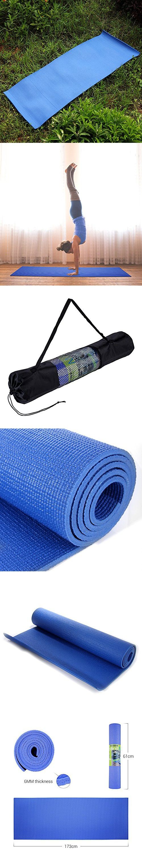 Masione Yoga Mat 6mm 1 4 Inch Thick Pvc High Density Pad With Carry Bag 68 X24 For Fitness Exercise Mat Yoga Camping Yoga Mat Mat Exercises Exercise