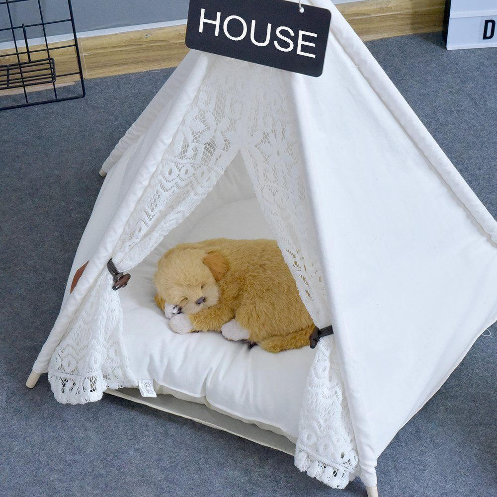 Pet Teepee Dogpuppy And Cat Bed Portable Pet Tents And Houses For Dogpuppy And Cat Lace Style With Or Without Optional Cushion I Pet Teepee Cat Bed Dog Bed