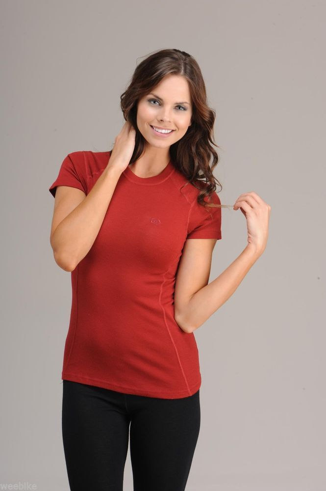 Hasyun Womens 100% Merino Wool SHORT SLEEVE Base Layer All Sizes RED