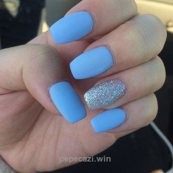 Acrylic Nails Matte Blue With Silver Google Search