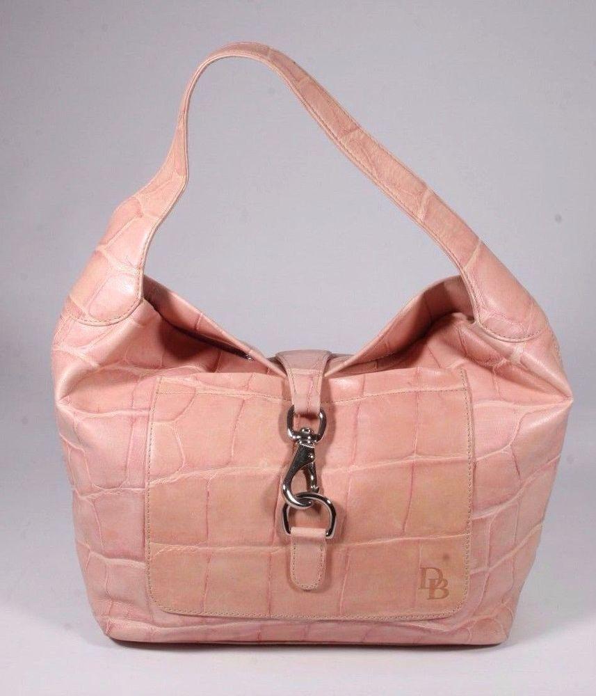 NEW Dooney & Bourke Pink Croc Embossed Leather Hobo Logo Lock ...