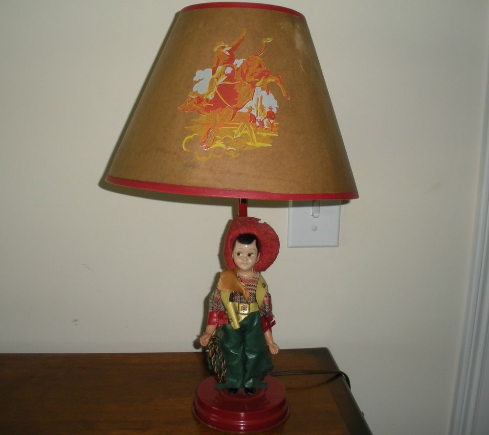 Vintage western cowboy lamp shade 1950 s kids room decor Vintage childrens room decor