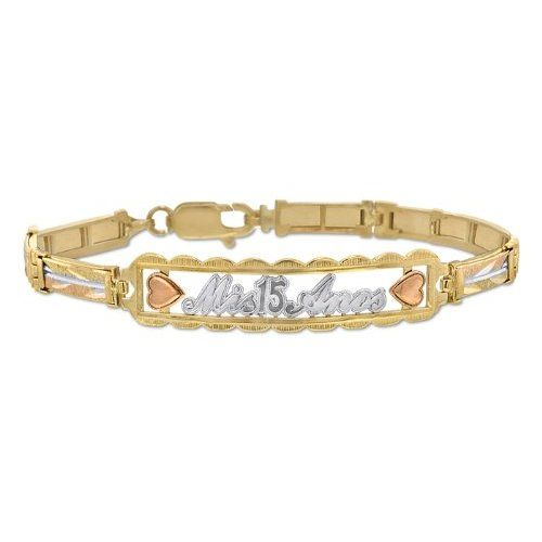 14k Tri Color Solid Gold Las Bracelet Featuring Mis 15 Anos 10 0mm Wide