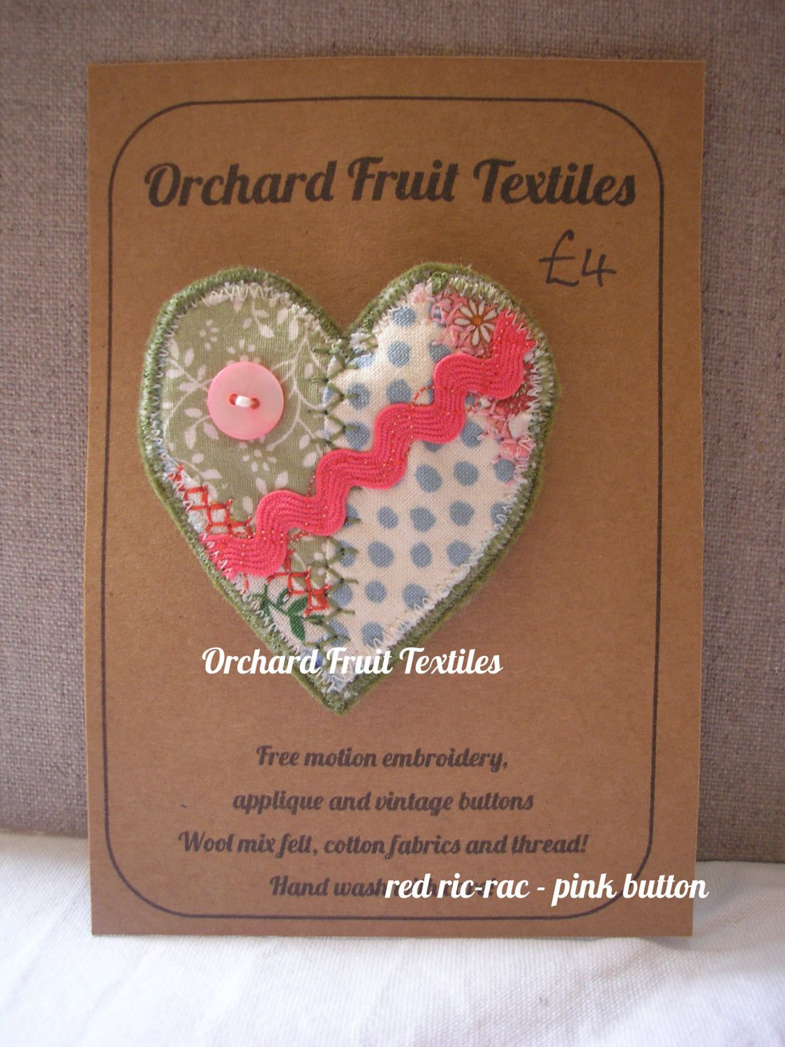 Heart Brooch Pin by OrchardFruitTextiles on Etsy