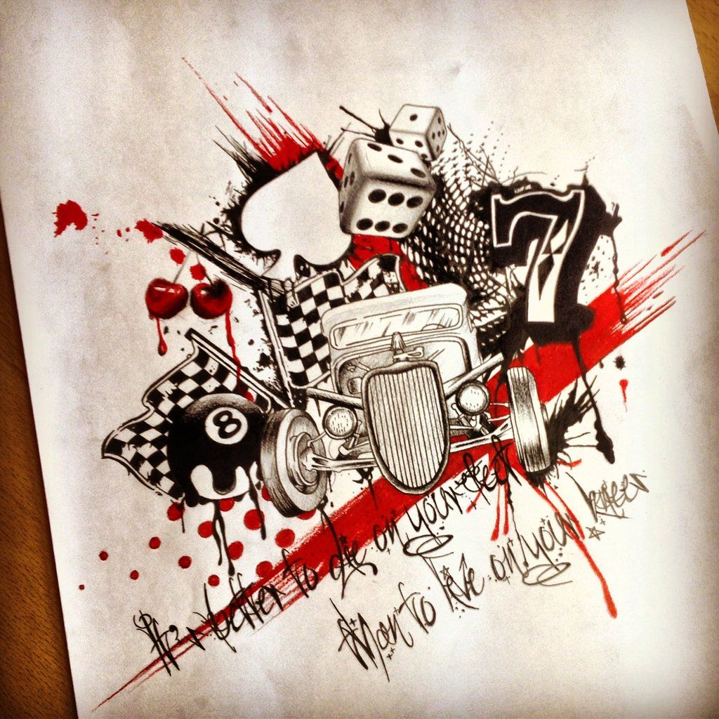 Hotrod themed trah polka by on for Tattoo party ideas