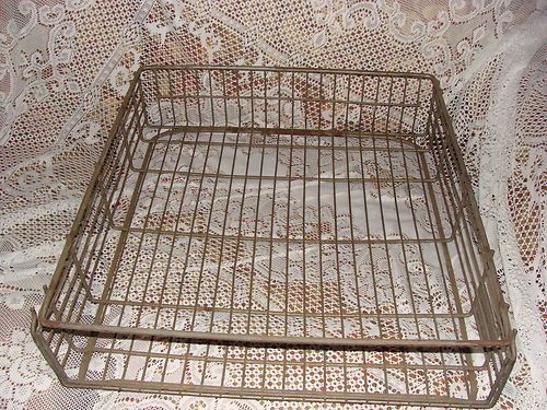 Vintage Bost Bakery Bread Basket Metal Wire Industrial Old Pot Pan