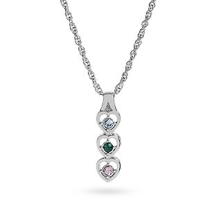 Personalized Platinum Dipped Sisters Birthstone Necklace , Add Your Message