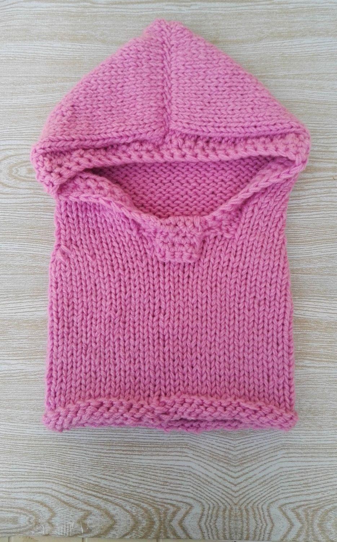 Cappuccio con scaldacollo per bimbo o bimba fatto a maglia di LaLunadiLanaHandmade su Etsy
