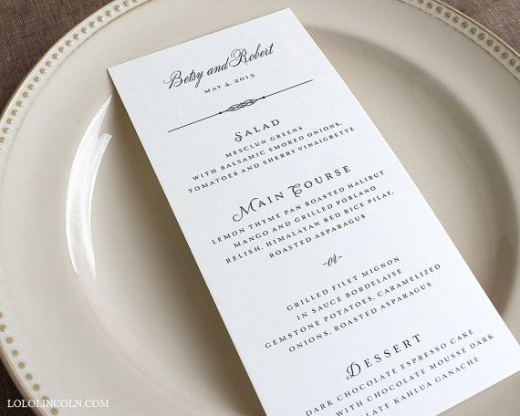 Grove Park Classic Style Wedding Menu Cards DEPOSIT by LoloLincoln - sample cards