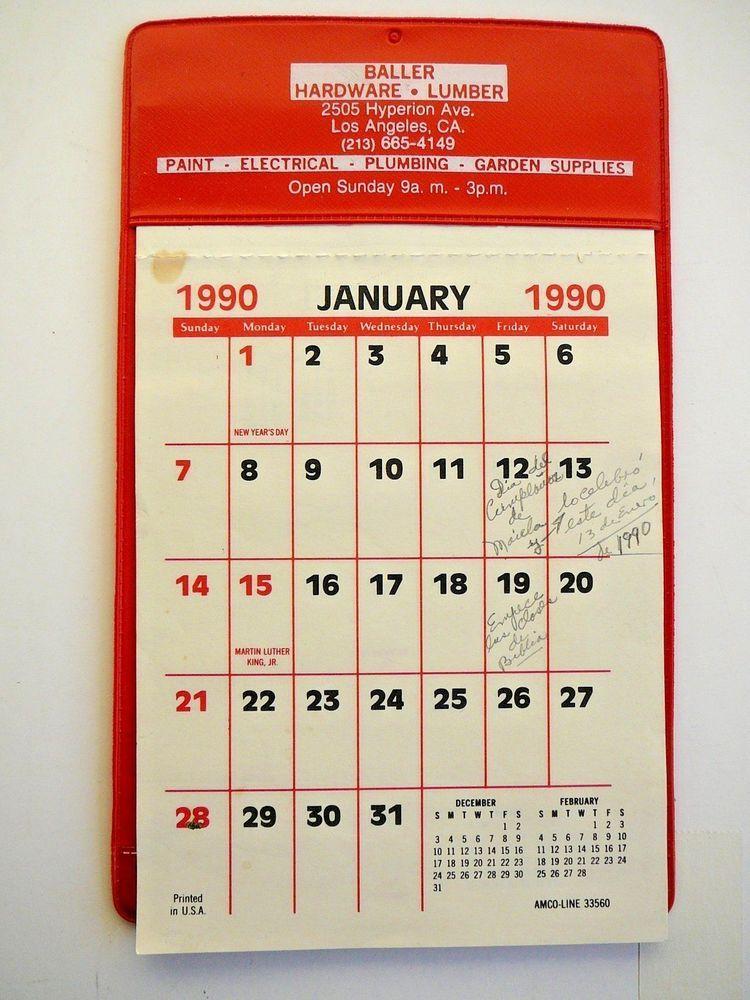 1990 Calendar.Advertising Wall Calendar 1990 True Value Baller Hardware La Red
