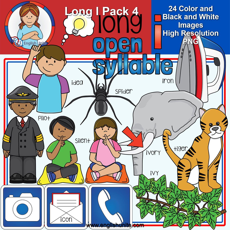 Clip Art Long I Pack 4 (open syllables) Clip art, Word
